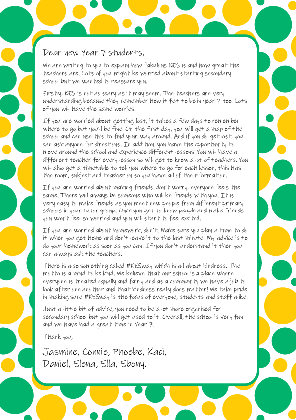 Letter to new Year 7
